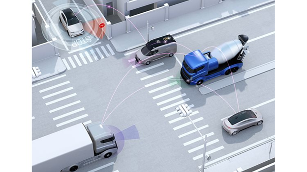 An example of a road intersection showing how multiple cars driving on the road are connected.