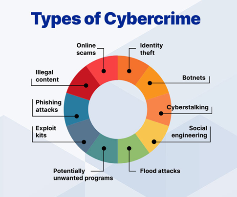 An infographic showing the different types of cybercrime.