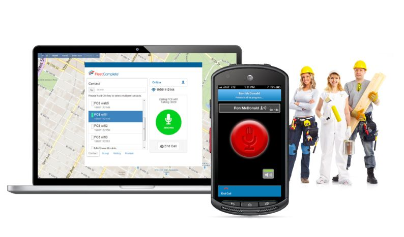 Screenshot of push to talk software for smartphone and laptop, by Fleet Complete, integrated with fleet management software. Workers are also posing in the background.