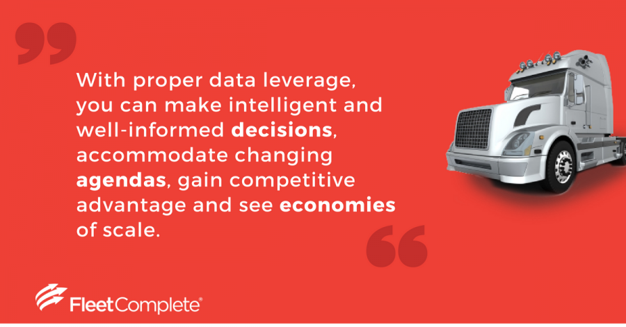 Internet of Things - Fleet Complete Fleet Management Software Benefits, quote next to truck.