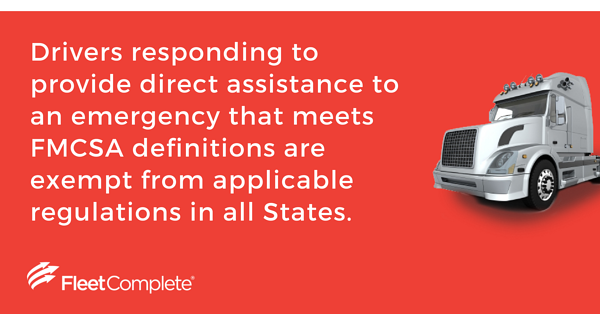 Drivers responding to provide direct assistance to an emergency are exempt from certain regulations.