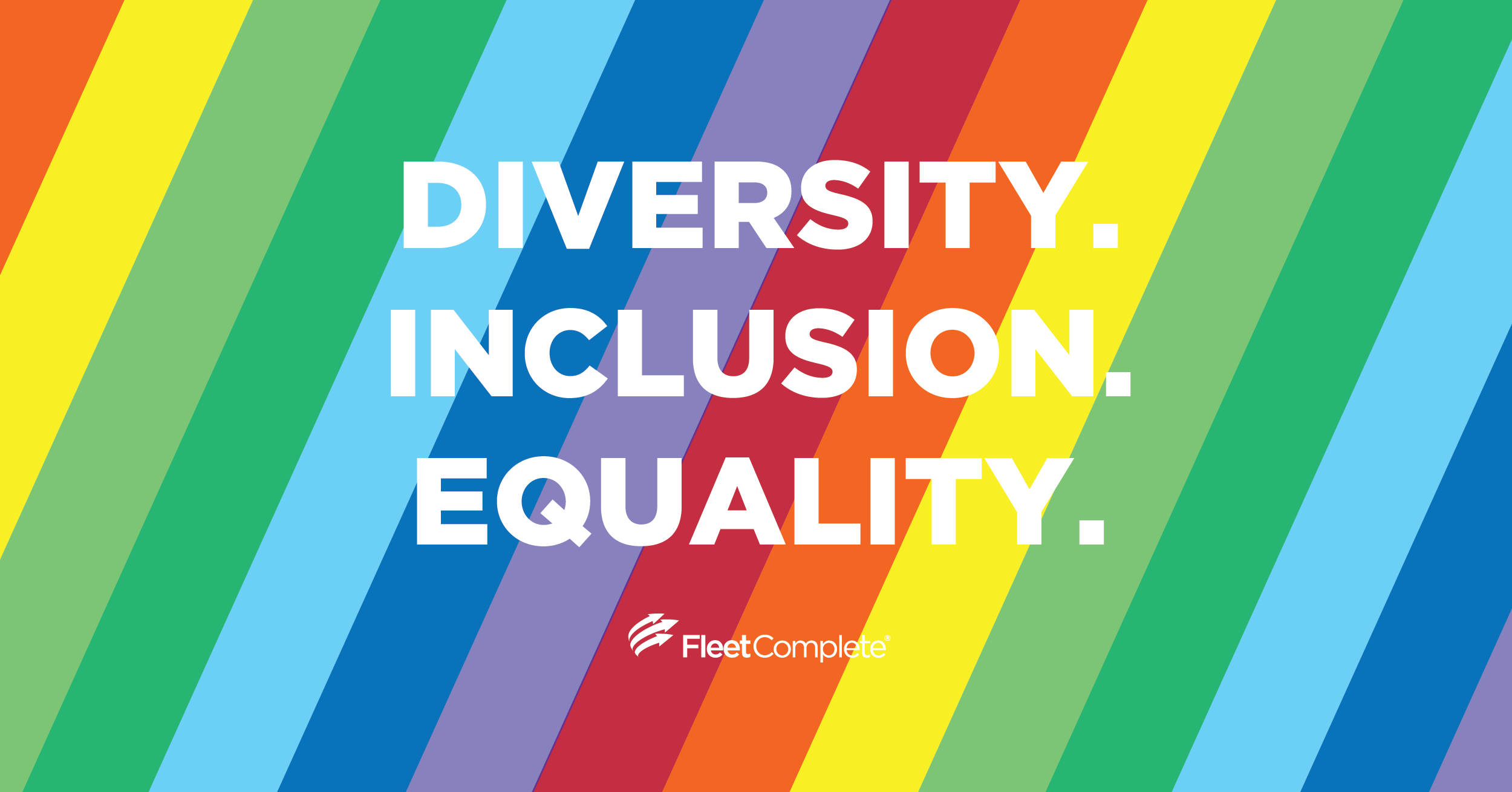 Diversity. Inclusion. Equality on a rainbow background.