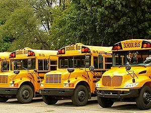 Parked school bus fleet with gps tracker telematics.