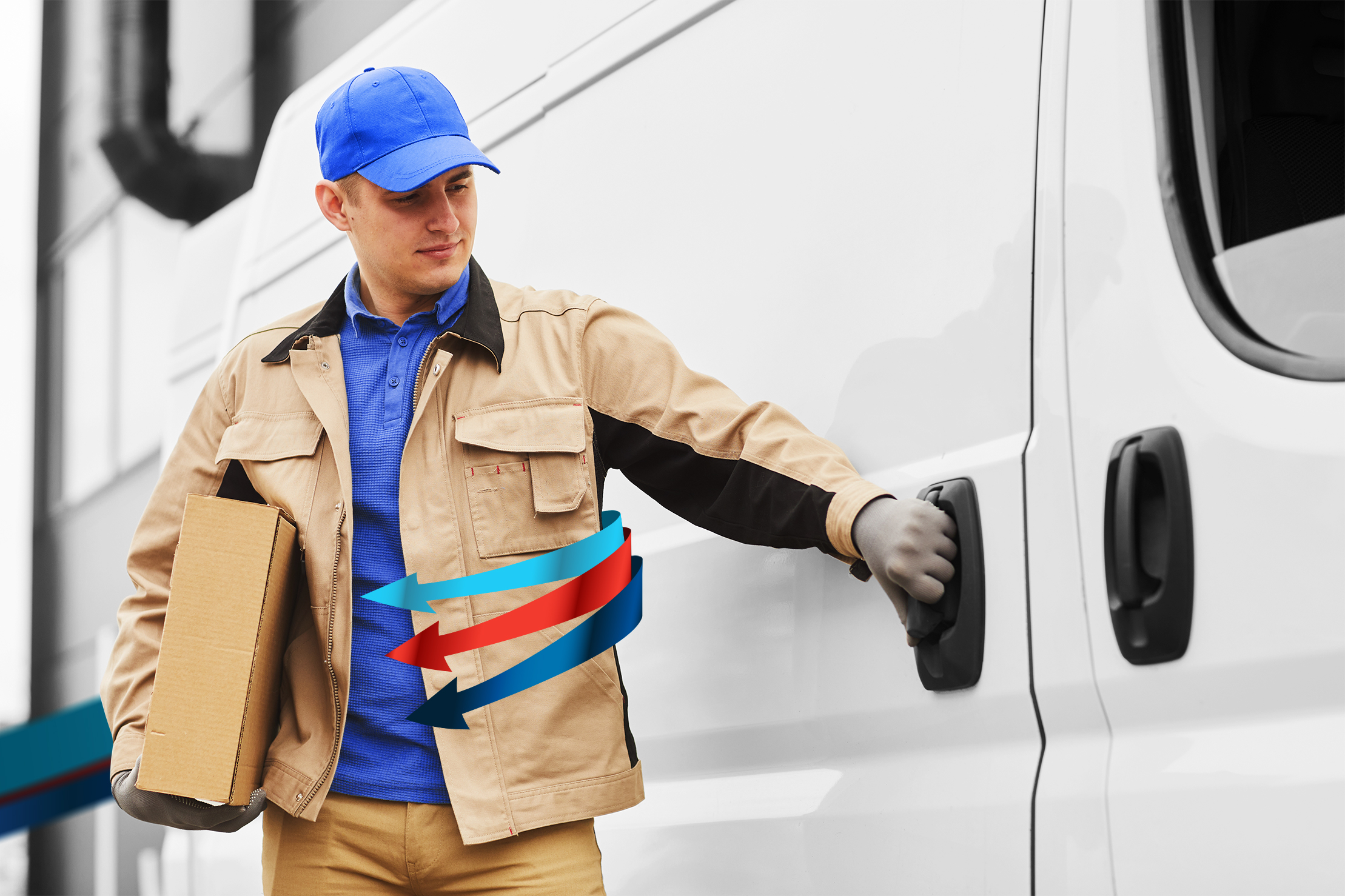 A courier male worker holding a parcel with Fleet Complete arrows wrapping around him in the process of opening a door of a white van.