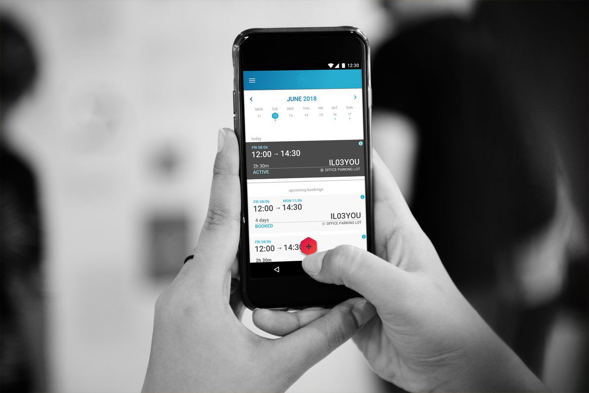 Carsharing app on mobile phone.