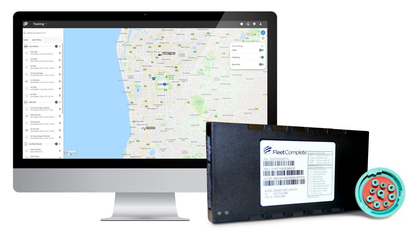 Fleet Complete hardware and a desktop screen with Fleet Complete tracking module.