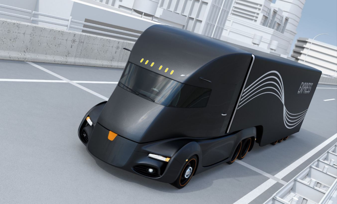 Futuristic self-driving truck.