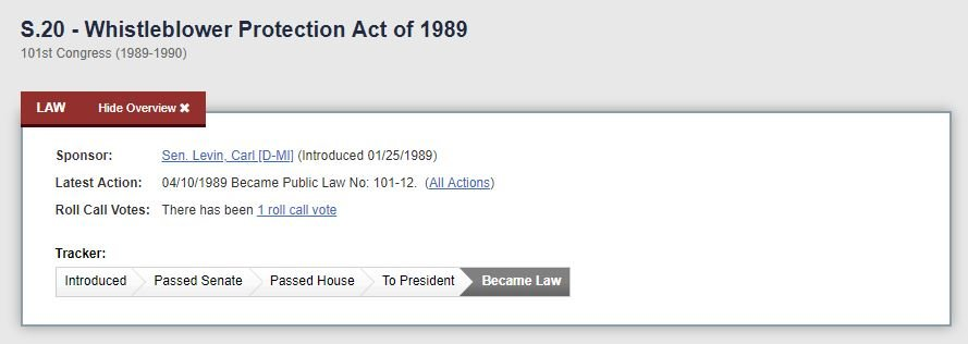 Screenshot of the Whistleblower Protection Act of 1989 website page