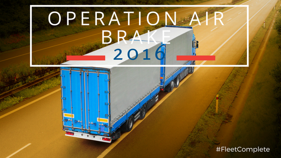 truck on a highway with notice about operation air brake 2016 DOT inspections.