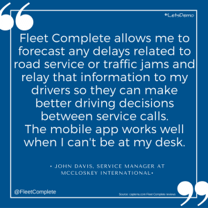 Blue square with customer review truck management software.